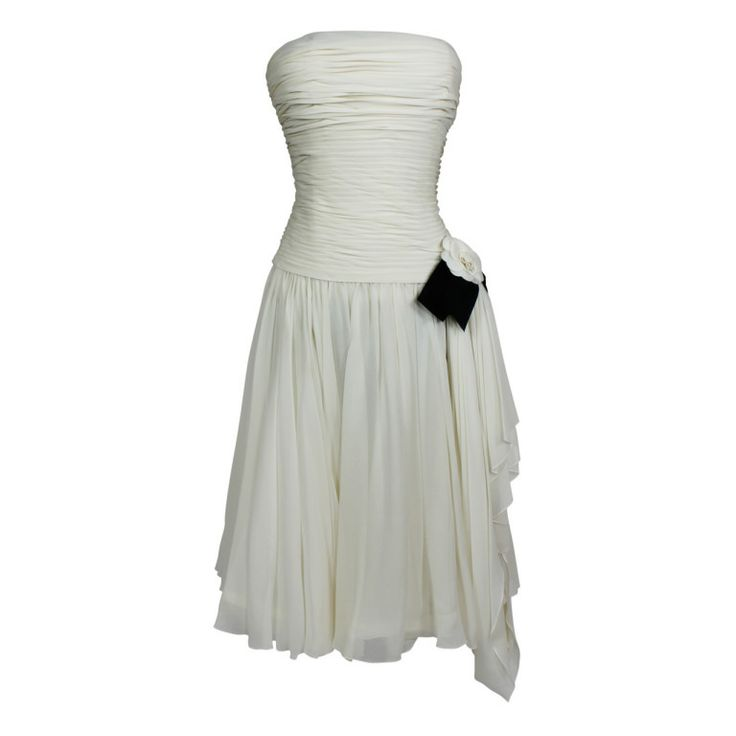 CHANEL Boutique Cream Chiffon Ruched Cocktail Dress with Camellia   1stdibs.com