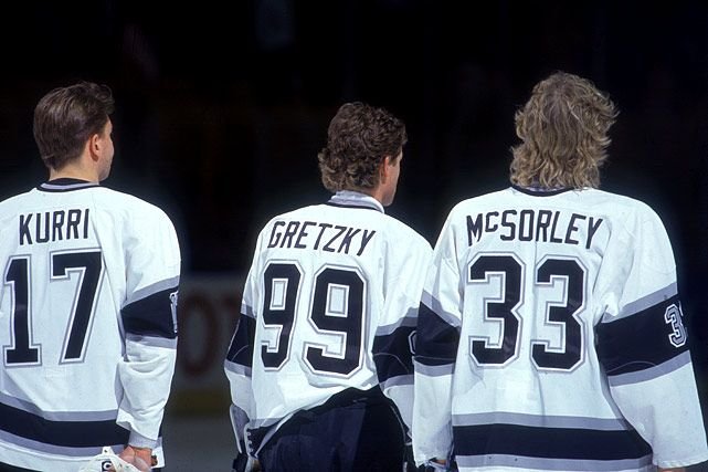 Jari Kurri, Wayne Gretzky and Marty McSorley, Los Angeles Kings