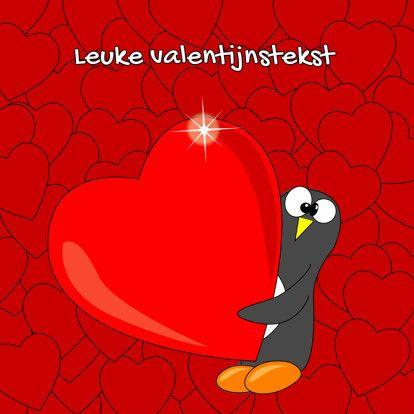 Grappige pinguin valentijnskaart - Valentijnskaarten - Kaartje2go