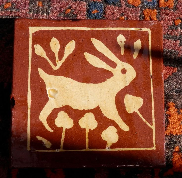 Rabbit - replica inlaid medieval tile by Tanglebank Tiles