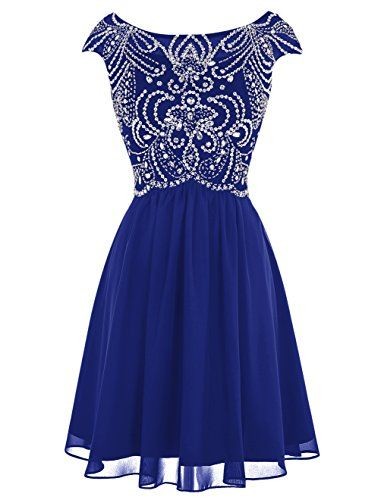 Tideclothes Short Beading Prom Dress Chiffon Cap Sleeves Homecoming Dress Royal Blue US16 -- You can get additional details at the image link.