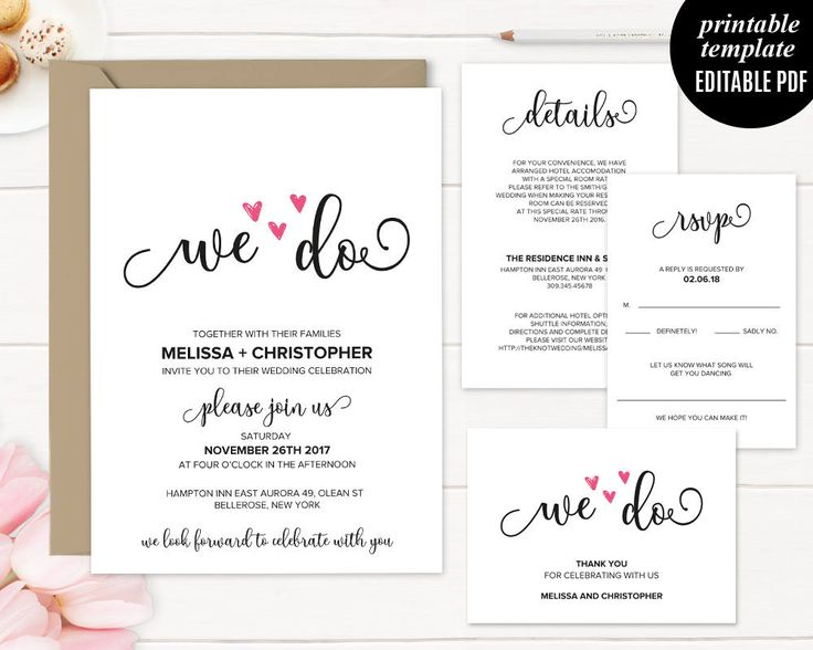 We Do Wedding Invitation Template Printable Rustic Modern Elegant Clic Calligraphy Pdf