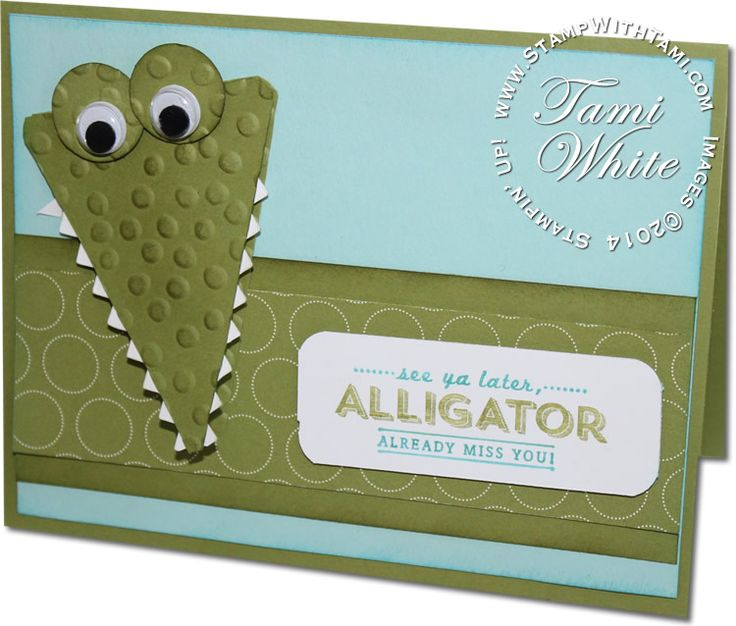 """Stinkin Cute See Ya Later Alligator Card featuring Stampin Up Sale-a-Bration """"See Ya Later"""" stamp set and SAB Decorative Dots impressions folder. check out details, measurements and video on the blog."""