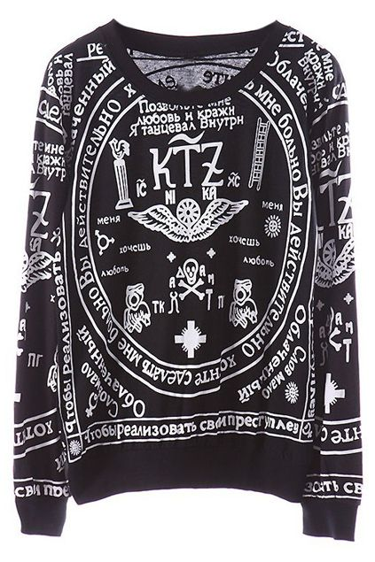 ROMWE | KTZ Religious Pattern Black Sweatshirt, The Latest Street Fashion