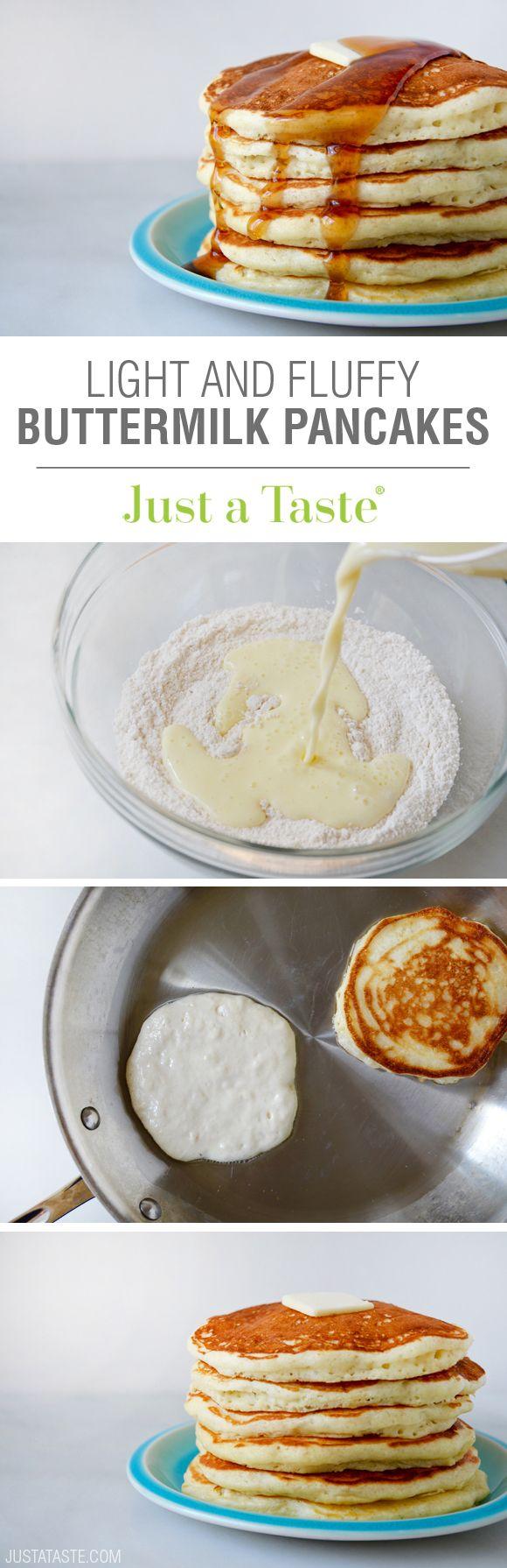 Light and Fluffy Buttermilk Pancakes #recipe via justataste.com