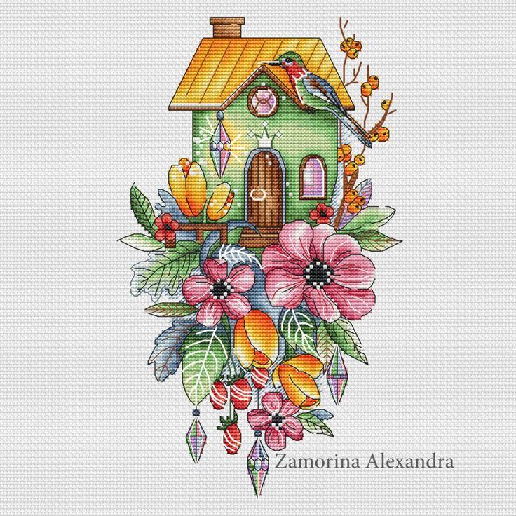 """Cross stitch design """"House with tulips"""" #sa_stitch #sa_pattern #pattern #crossstitch"""