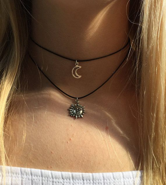 Double choker necklace silver sun and crescent moon by CelticBijou