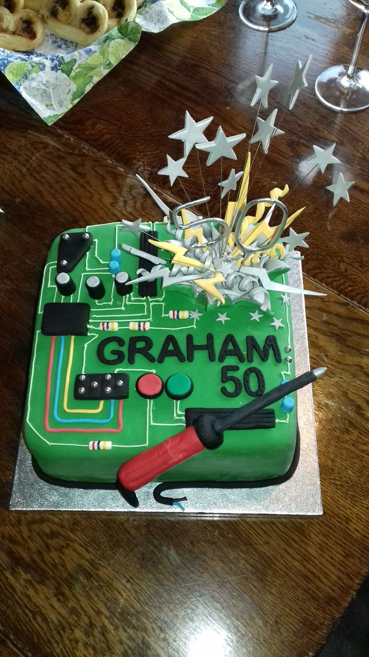 "Circuit board cake ""short circuit"" for brothers 50th who is an electronics engineer."
