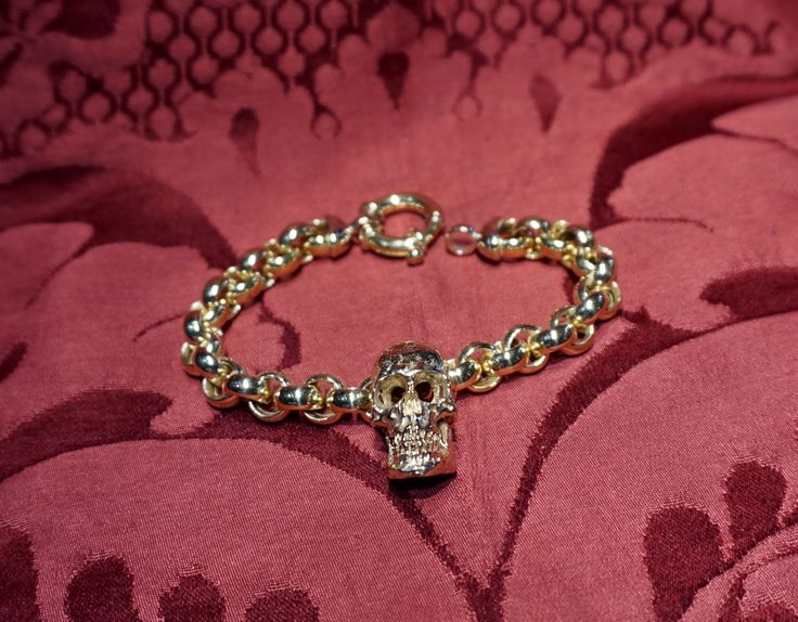 REAL Skull bracelet in 18 kt yellow gold - Dogale jewellery Venice Italy