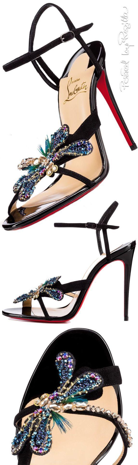 Christian Louboutin ~ Embellished Black Sandal Heels Supernatural Style