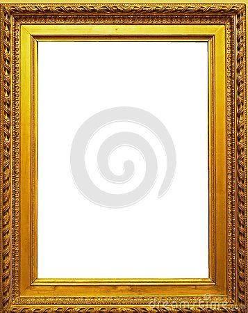 Empty carved wooden picture frame. Beautiful gilded antique frame.