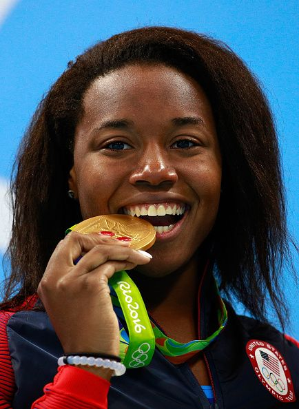 #RIO2016 Gold medalist Simone Manuel of the United States celebrates on the…