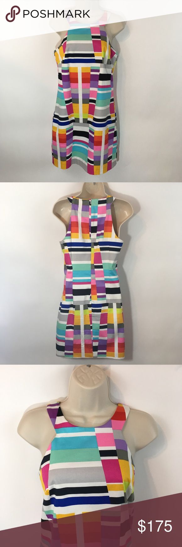 • trina turk colorful block halter midi dress 2 • White Trina Turk midi dress with black & multi colored block pattern. Halter style neckline. Size 2. Nwt.   Tags: colorful, new with tags, summer, spring, rainbow, fun, pastel, bright Trina Turk Dresses Midi
