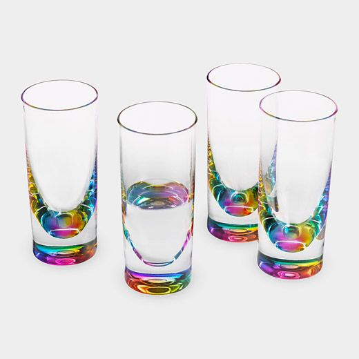 These break like crazy, but they're pretty while they last. --------------------------------------------------------------------MoMA Design Store Rainbow Tumblers | $40 for a set of four