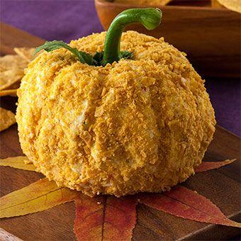 Habanero Mango Pumpkin Shaped Cheese Ball - how fun!