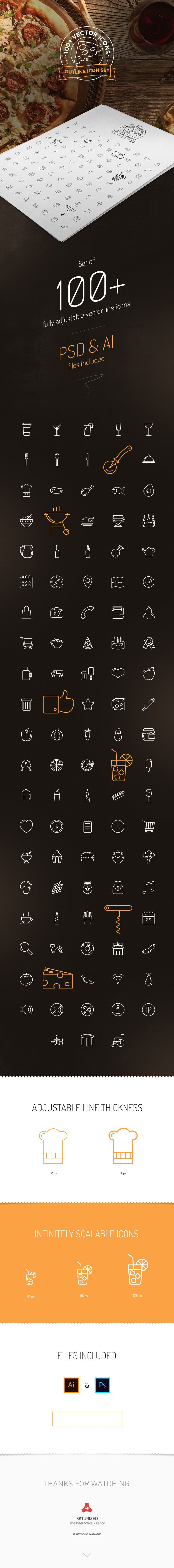 Free Download : 100+ Outline Icons For Restaurant or Pizza House Website (AI,PSD)