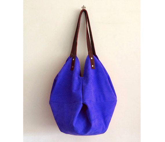 borsa in pelle blu e tracolla in pelle marrone di BBagdesign
