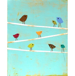Would love to take this Rebecca Peragine Print and use it as an inspiration to do a wall mural on my laundry room wall. It almost looks like clotheslines that the little tweeties are perched upon.