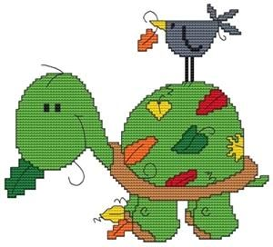 September Turtle Cross Stitch Pattern (CSW0009) Embroidery Patterns by Cross Stitch Wonders