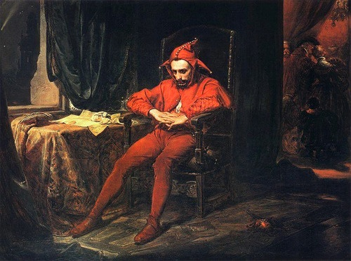 Interesting to compare to his portrayal in Wyapianski's 'The Wedding' perhaps? Jan Matejko - Stańczyk 1862 • Stańczyk was the court jester when Poland was at the height of its political, economic and cultural power in Renaissance, during the reign of King Sigismund I (reigned 1506–1548). The full title of the painting is: Stańczyk during a ball at the court of Queen Bona in the face of the loss of Smolensk).