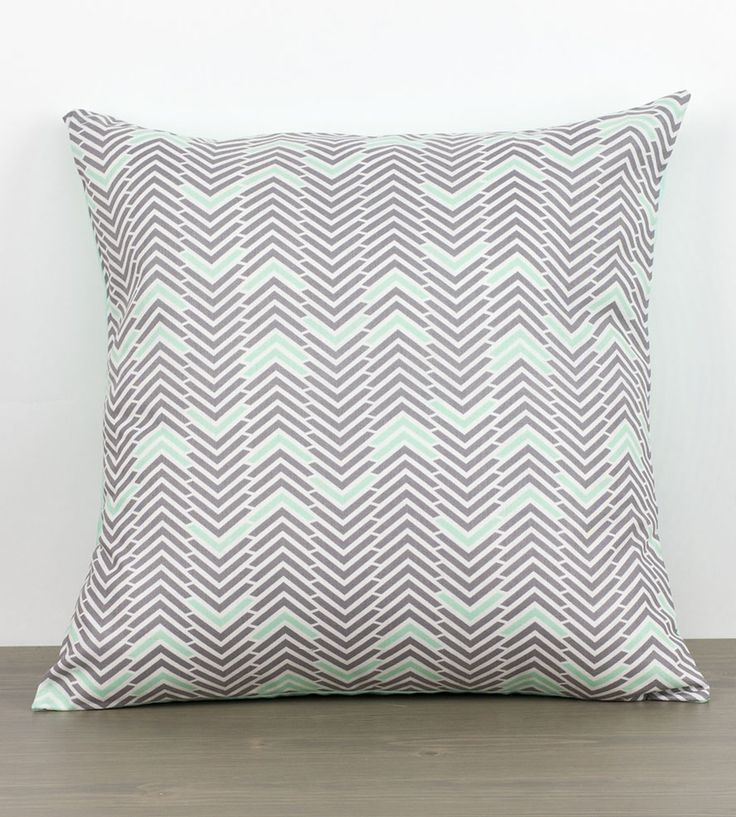 Grey  Mint Pillow Cover