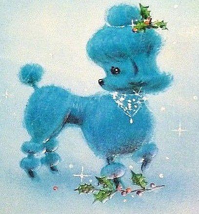 Vintage Blue Poodle Christmas Card