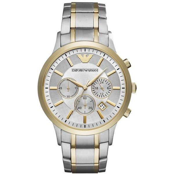 Men's Emporio Armani Two-Tone Chronograph Bracelet Watch, 43Mm (1.210 BRL) ❤ liked on Polyvore featuring men's fashion, men's jewelry, men's watches, mens watch bracelet, emporio armani mens watches, mens two tone watches, mens watches jewelry and mens chronograph watches