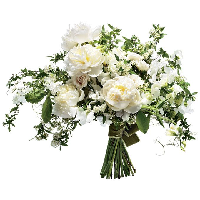 Brides.com: . A Vintage-Inspired Wedding Bouquet with White Peonies. A Downton Abbey-esque countryside wedding theme deserves a fresh white bouquet full of peonies, roses, and royal green ferns.   Peony, garden rose, spirea, and fern wedding bouquet, $180, Amy Merrick  See more peony wedding flowers.