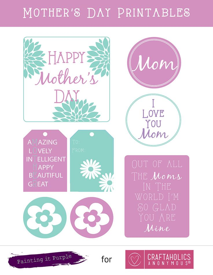 Cute mother's day gift tags and note cards. Free mother's day gift printables. Love these colors!
