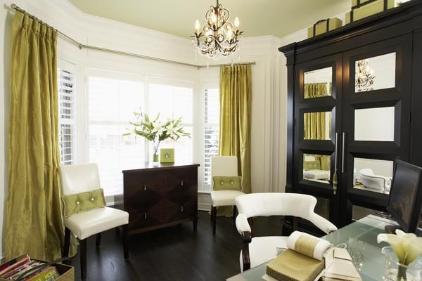 contemporary dark wood furniture in home office