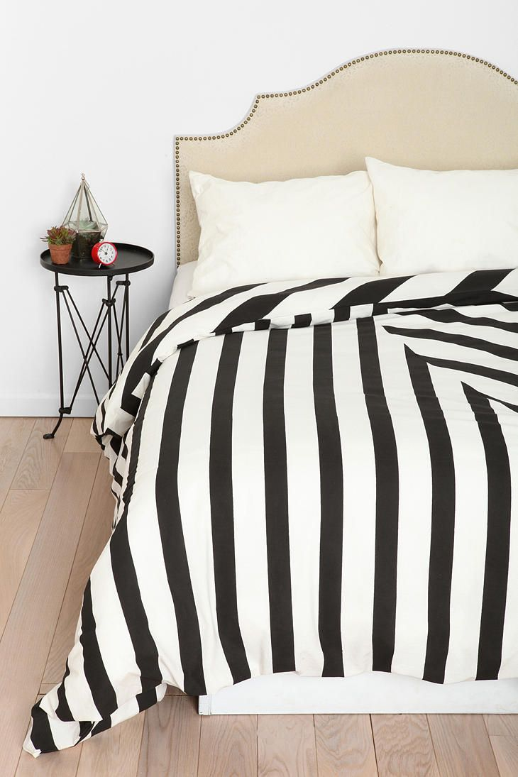 Black and white striped bed sheets - Overview Duvet Cover Crafted From Woven Cotton By Assembly Home Topped With A Bold Mixed Stripe Design Duvet Insert Not Included Uo Exclusive