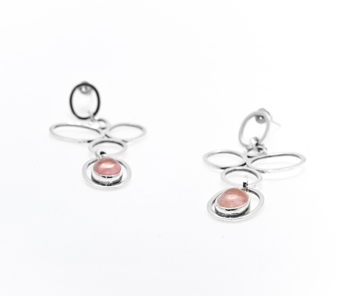 Pink Rose Silver Earrings