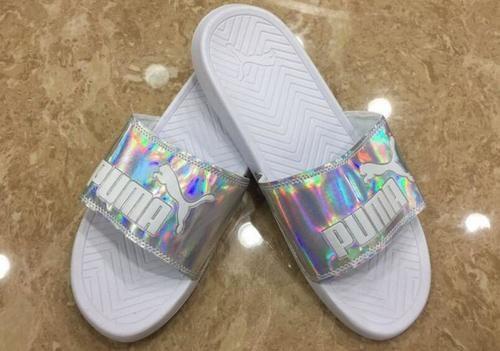 d78d2bcf02e86 Puma Popcat Slider Sandals White Silver