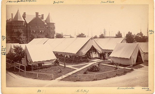MA, Boston, Boston City Hospital (1864–1996) - Tent wards erected to accommodate sick and injured soldiers returning from Spanish-American War, 1898
