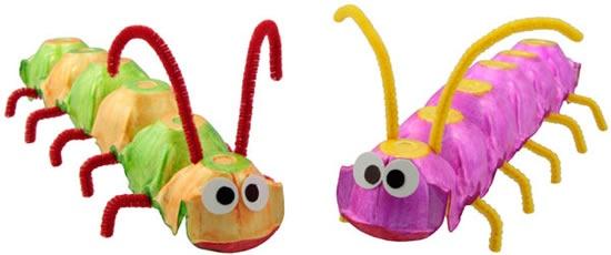 lagarta - Brinquedo com caixa de ovo passo a passo