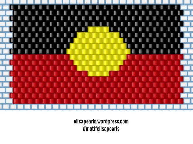 Australian Aboriginal Flag brick stitch pattern // Motif du drapeau aborigène australien en brickstitch (Personal use only) @elisapearls elisapearls.wordpress.com