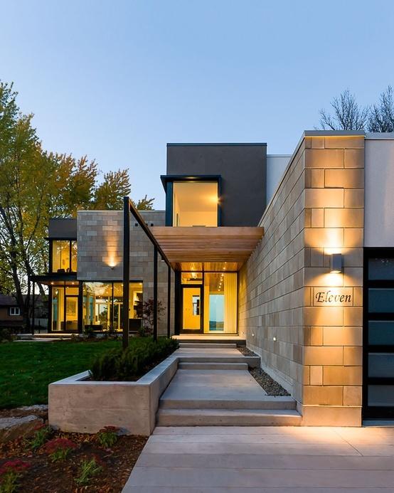 modern front entrance - stone, wood, concrete mix