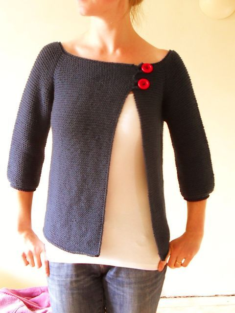 This would be a great way to use an old sweatshirt as well. Simply cut and redo seams then add loops and buttons.