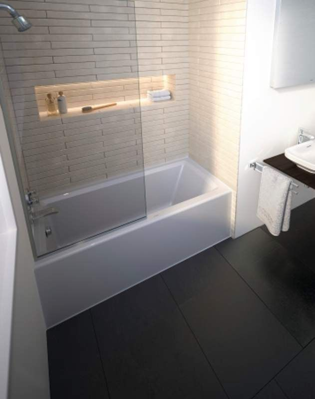 "Duravit 700354000000090 White Architec 60"" Acrylic Soaking Bathtub for Alcove Installations with Left Drain, Tub Feet, and Flange - Less Overflow and Drain Assembly - FaucetDirect.com"