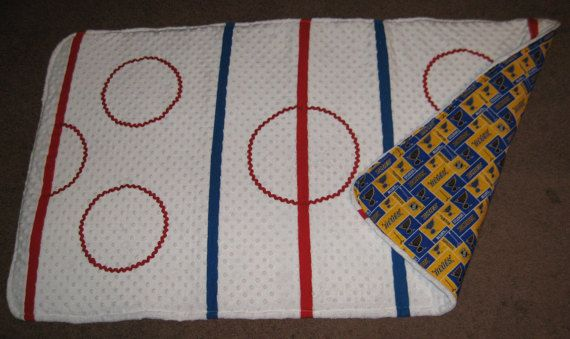 Hockey Playmat.  A great baby or child gift for the family that loves hockey. Customization available to cheer on your favorite team!