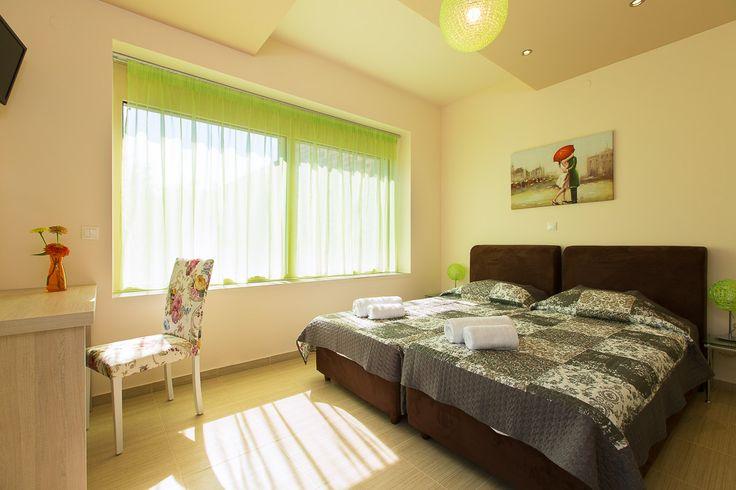 Mare Villas (Villa Green Mare) in Rethymno, Crete. #villa #greece #crete #vacationrental #luxury #private #pool #island #sea #view #blue #green #bedroom