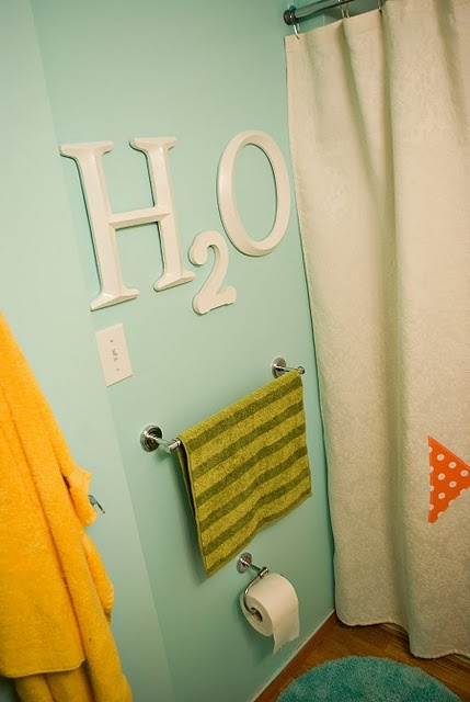 I pretty much want this girl to come decorate my house! I think this is a super cute idea for the bathroom.