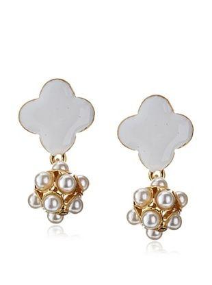 56% OFF Karine Sultan White Enamel Clover Faux Pearl Earrings