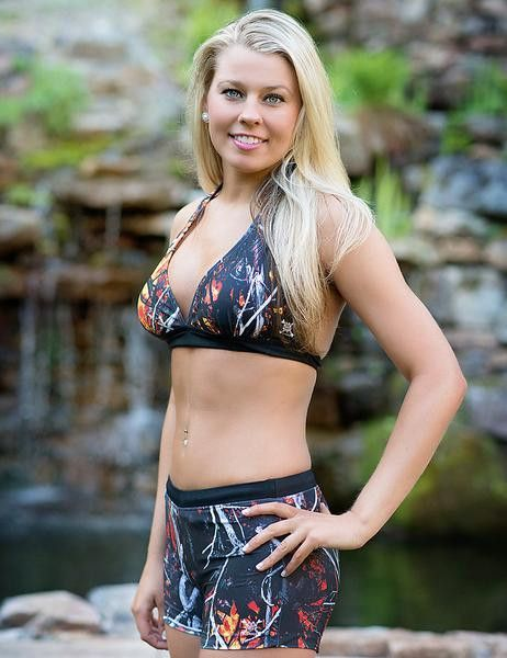 Muddy Girl Camo, Wild Fire Halter Top and Boy Short Bottom. A great combination of camo swimsuits at any outdoor activity.Look your best in this attractive camo swimwear. Features wide band for added