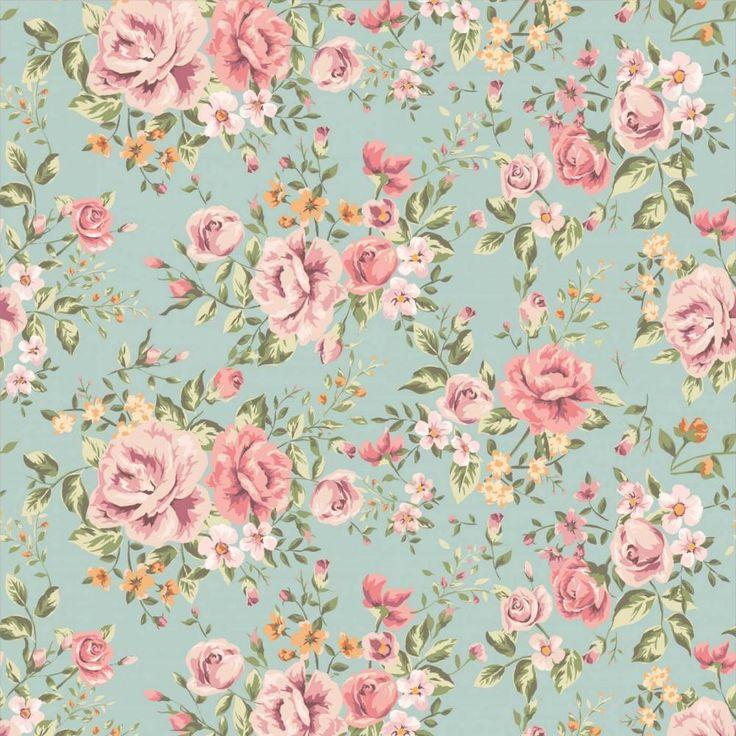 Papel de parede floral rosas em cores laranja, verde e rosa - PA8945