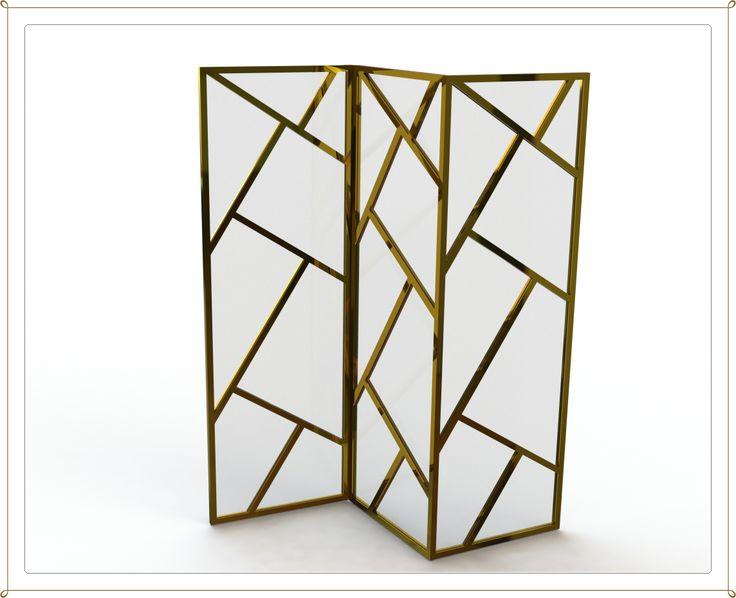 Biombo em Latão/bronze com vidro