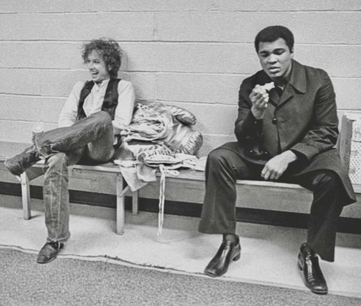 "Dec. 1975 Madison Square Garden  Muhammad Ali Visits Bob Dylan Backstage  At The Night Of The Hurricane Benefit  For Rubin ""Hurricane"" Carter A Boxer Wrongly Accused Of Murder In 1967."