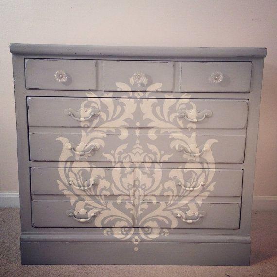 SOLD- Paris Grey 3 drawer dresser with damask stencil- shabby chic furniture