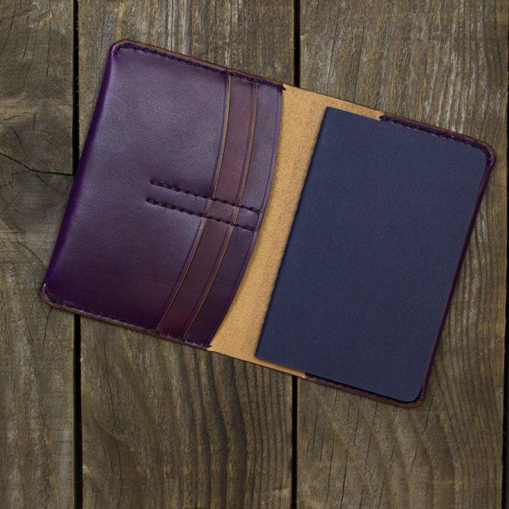 Hand dyed purple notebook wallet for a custom order.