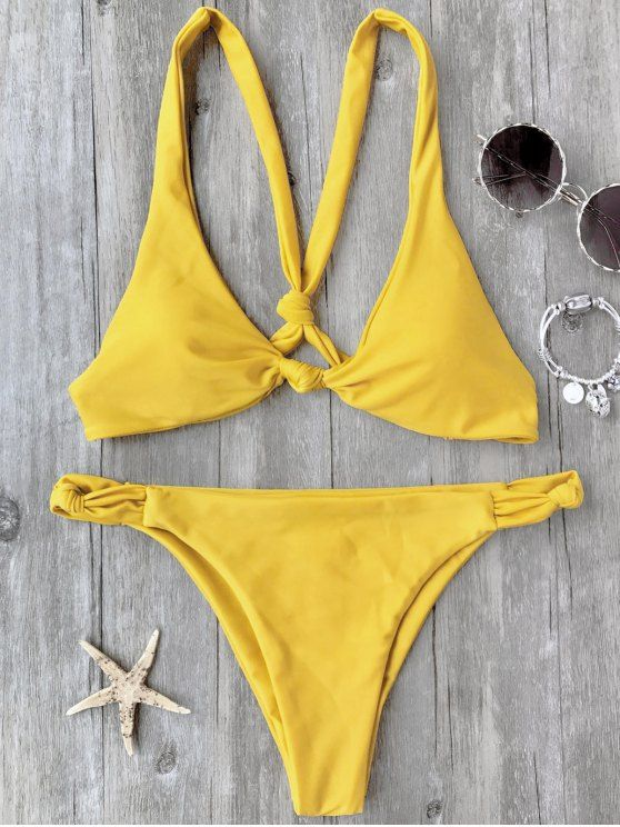 Knotted Padded Scoop Bikini Set - YELLOW S